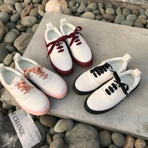 帆布鞋厚底休閑系帶小白鞋潮 型號:3108-3