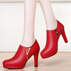 裸靴2017新款秋季防水台高跟鞋细跟红色靴子百搭女士皮鞋单鞋女鞋