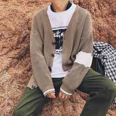 秋季新款针织开衫男毛衣外套休闲纯色薄款v领宽松线衣DJ861P58