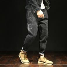 S实拍2018日系长裤小脚裤牛仔裤男韩版潮修身哈伦裤男士长裤5232