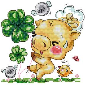 小小鱼DMC绣线十字绣套件 A1384 卡通【梦想猪】印花