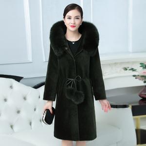 实拍7300#2017新款羊剪绒大衣外套长款狐狸毛领连帽修身羊羔毛女