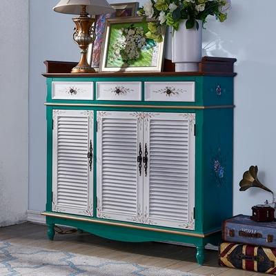 梵高乡村家具复古美式玄关鞋柜实木欧式门厅柜