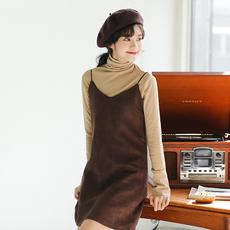 386# 质检 实拍 韩版时尚麂皮裙 中长款背带裙吊带裙