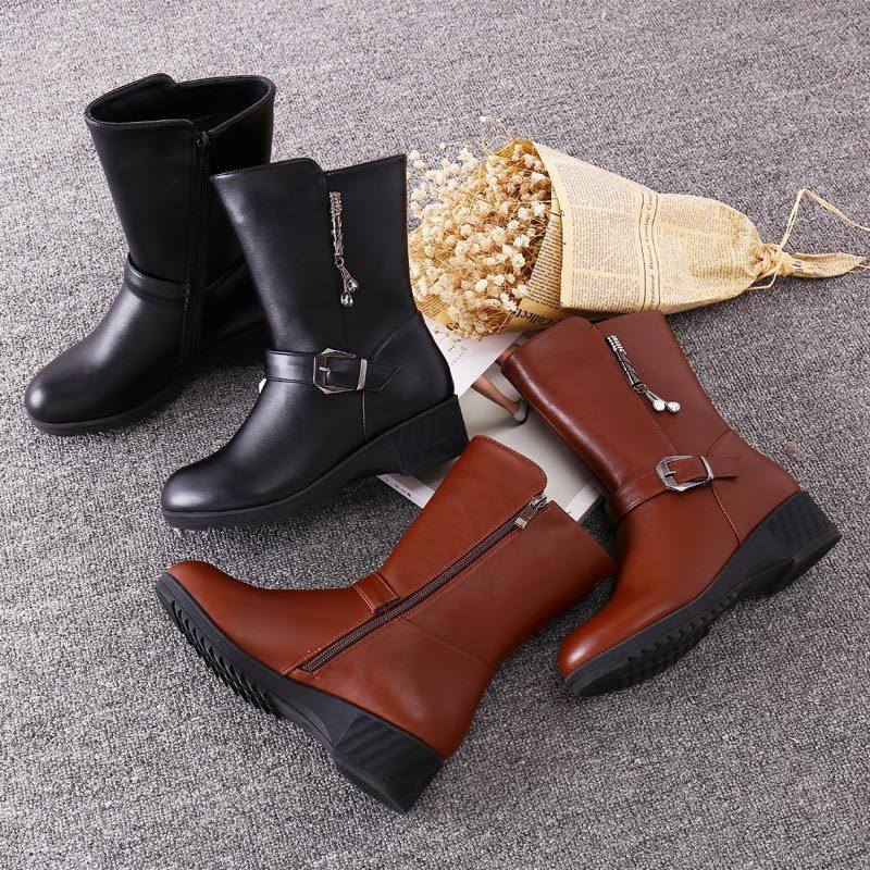 女靴中年<font color='red'><b>真皮</b></font>中筒靴棉鞋