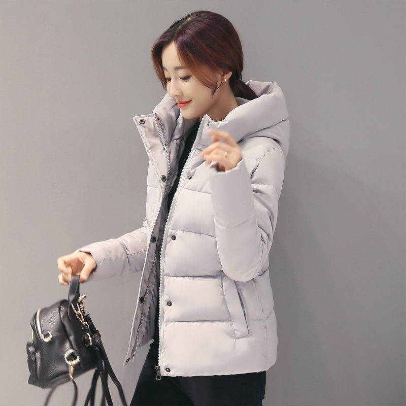 实拍新款棉服女韩版短款修身显瘦简易百搭学生连帽棉衣外套6951#
