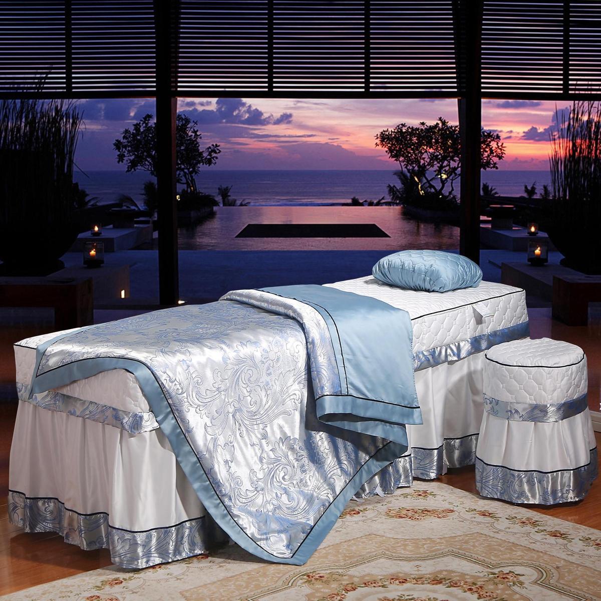 Cao cấp đặc biệt vẻ đẹp giường bao gồm bốn bộ đồng bằng tính khí đơn giản hàng loạt massage giường bao gồm bốn bộ màu trắng và màu xanh tùy chỉnh mới