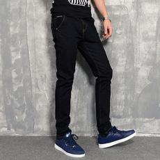 2017冬季弹力牛仔裤男士修身直筒长裤商务休闲牛仔裤原色牛仔A92