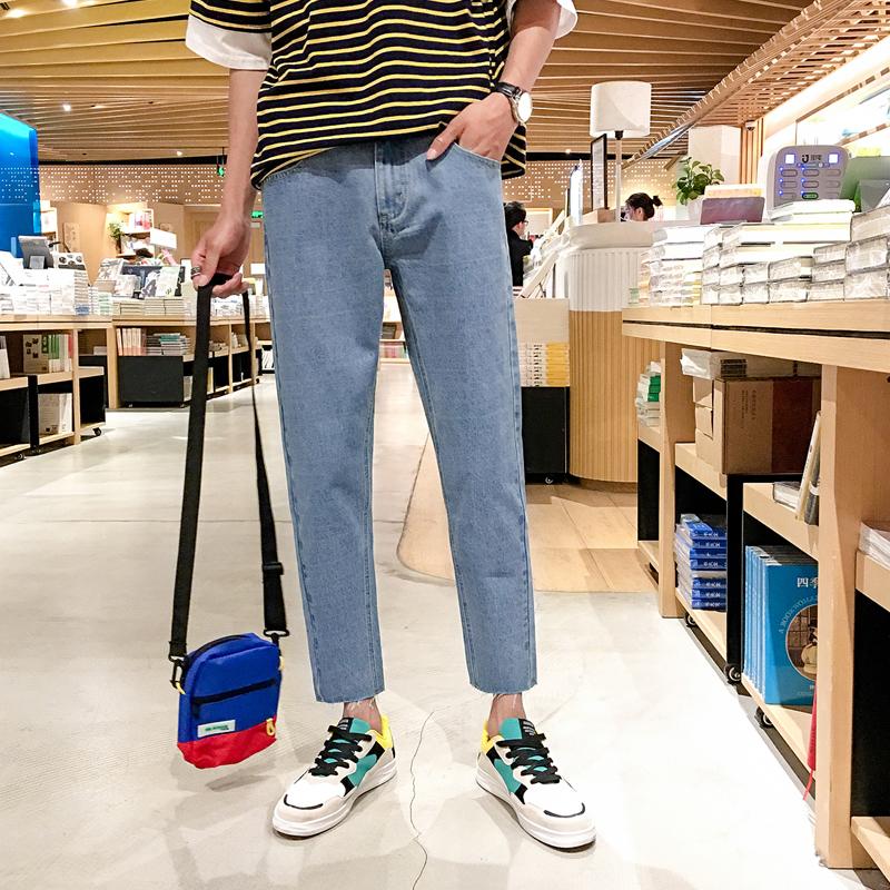 夏季2018新款 男士牛仔九分裤修身韩版潮流学生小脚破洞男装裤