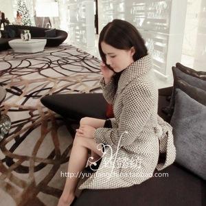 2014秋冬女装 欧洲站高级定制成衣刘钰懿同款羊毛呢外套女1052