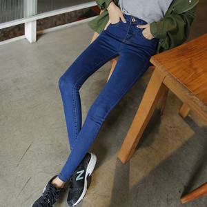 秋季韩版牛仔裤女长裤百搭弹力高腰小脚裤修身显瘦学生九分裤黑色