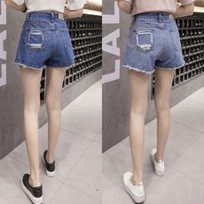 1030 实拍口袋破洞个性高腰A字学生热短裤宽松显瘦阔腿牛仔短裙女