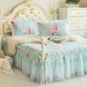 Non-slip giường váy mảnh duy nhất cotton đôi ren trải giường cotton Simmons bảo vệ bìa Hàn Quốc công chúa tấm ga trải giường