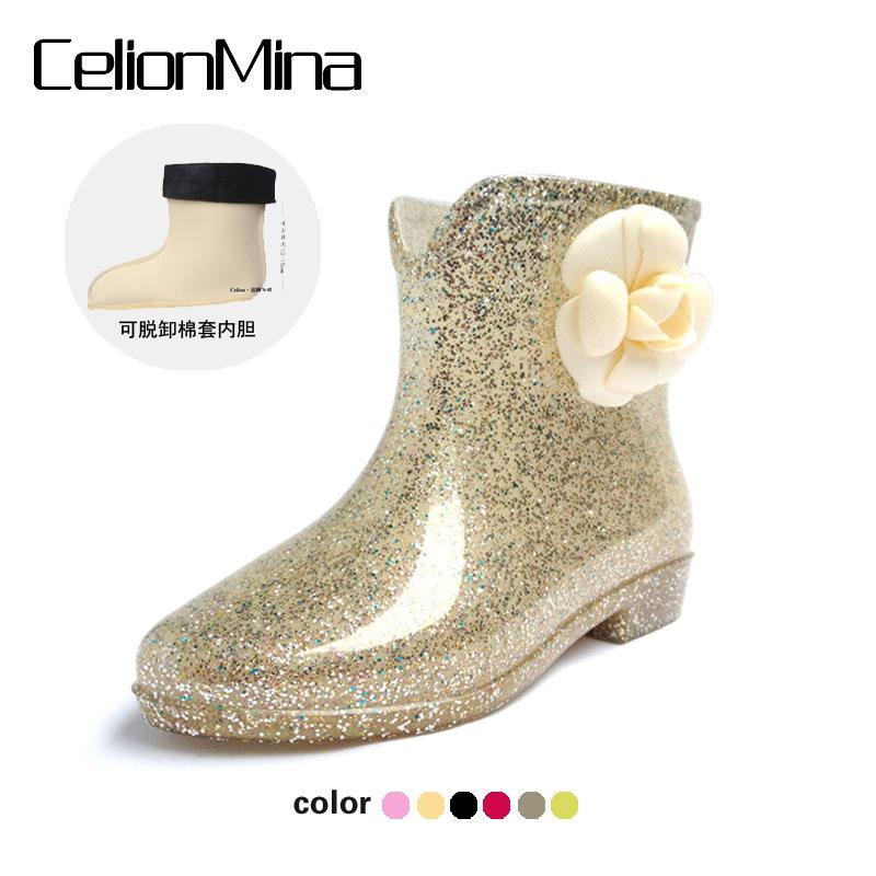 Mùa xuân và mùa hè thời trang ống ngắn thạch mưa khởi động cao gót mưa khởi động Hàn Quốc phiên bản của mùa thu và mùa đông khởi động giày nhà bếp giày không thấm nước của phụ nữ