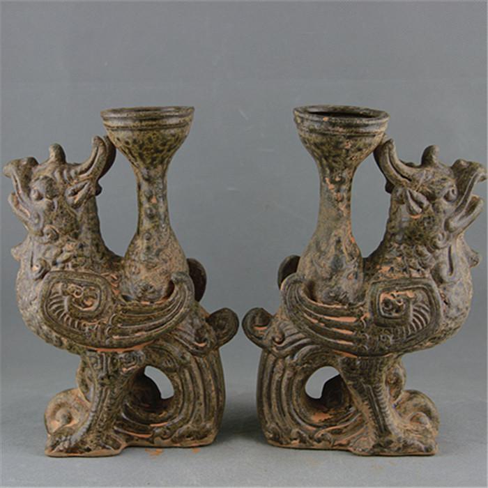 越窑青瓷单色釉神兽灯台