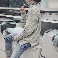 秋冬韩版男生可翻高领针织衫套头男生纯色打底针织毛衣DJ848TP75