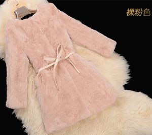 2016冬装皮草外套中长款新款獭兔毛女款圆领皮草5394裸粉色