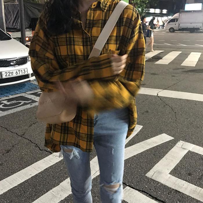 实拍实价~秋季格子衬衫女长袖宽松百搭复古衬衣外套已检测 9267#