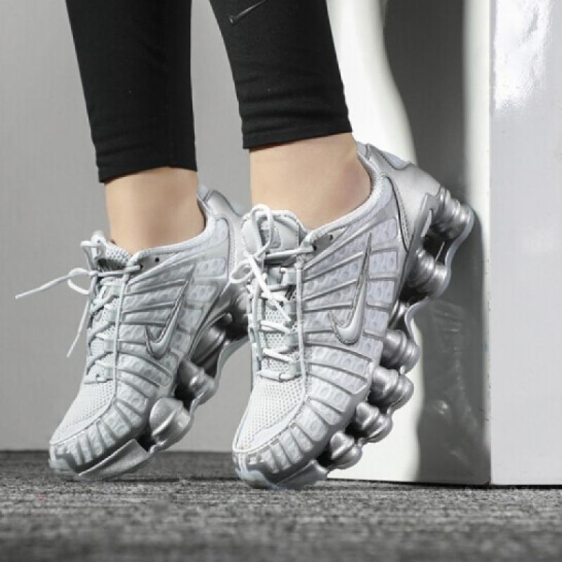 Nike Shox TL Silver Zhang Dayi với cùng cột không khí và đệm khí chạy giày thể thao nữ AR3566-100 - Giày chạy bộ