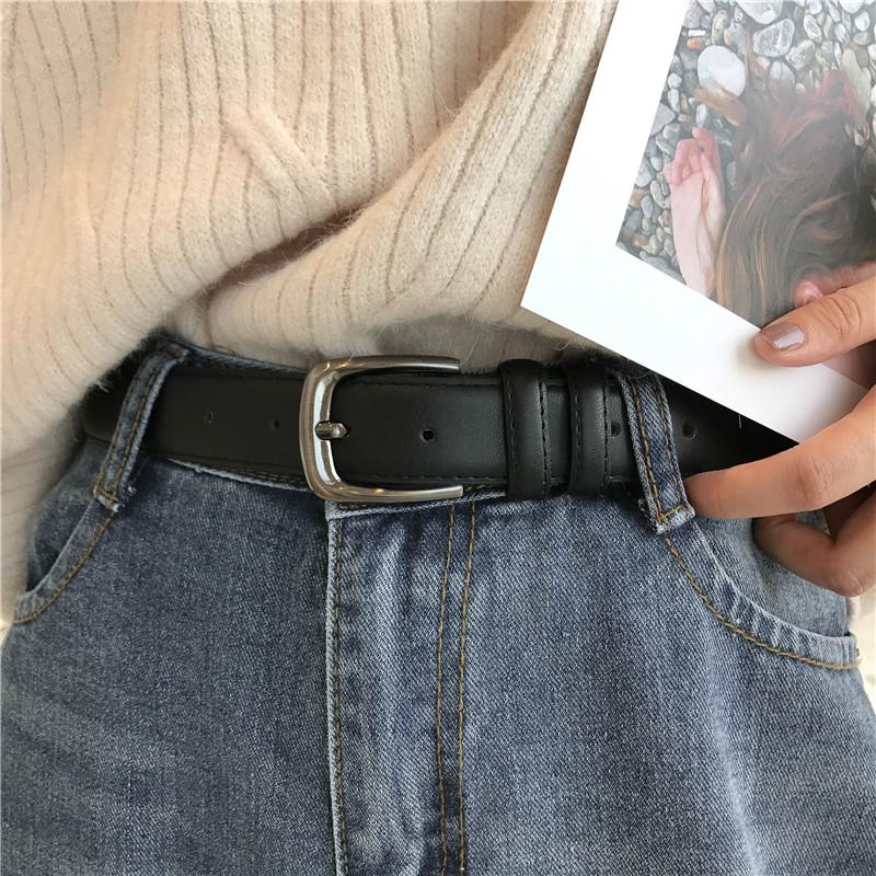 男女通用皮带休闲百搭简约黑色细腰带韩版复古针扣牛仔裤带学生潮