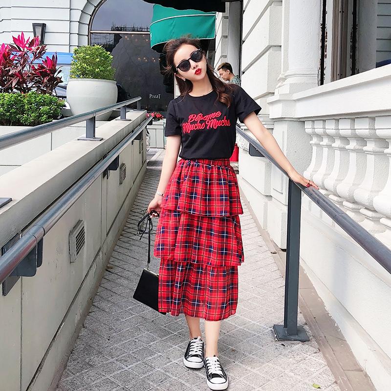 视频+三标+实拍2018韩版女装夏装新款宽松蛋糕裙格子时尚套装3053