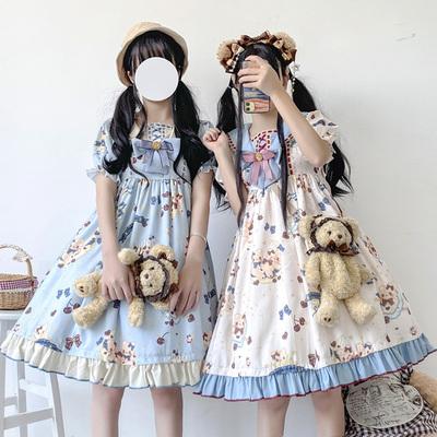 taobao agent 原创正版月亮岛lolita夏装洛丽塔日常轻甜可爱少女短袖op连衣裙