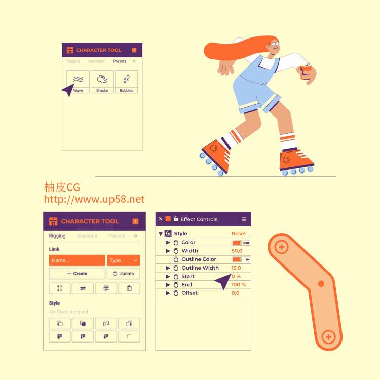 卡通人物角色手脚生成绑定MG动画Character Tool V1.0.6 AE脚本