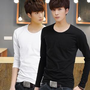 2017 mùa thu người đàn ông mới của dài tay t-shirt nam phần mỏng cổ tròn màu rắn thanh niên mùa thu quần áo Hàn Quốc phiên bản của bông đáy áo