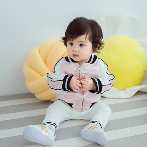 2017新款条纹拼接圆领拉链开衫夹克外套亲子装母子装母女装童装代