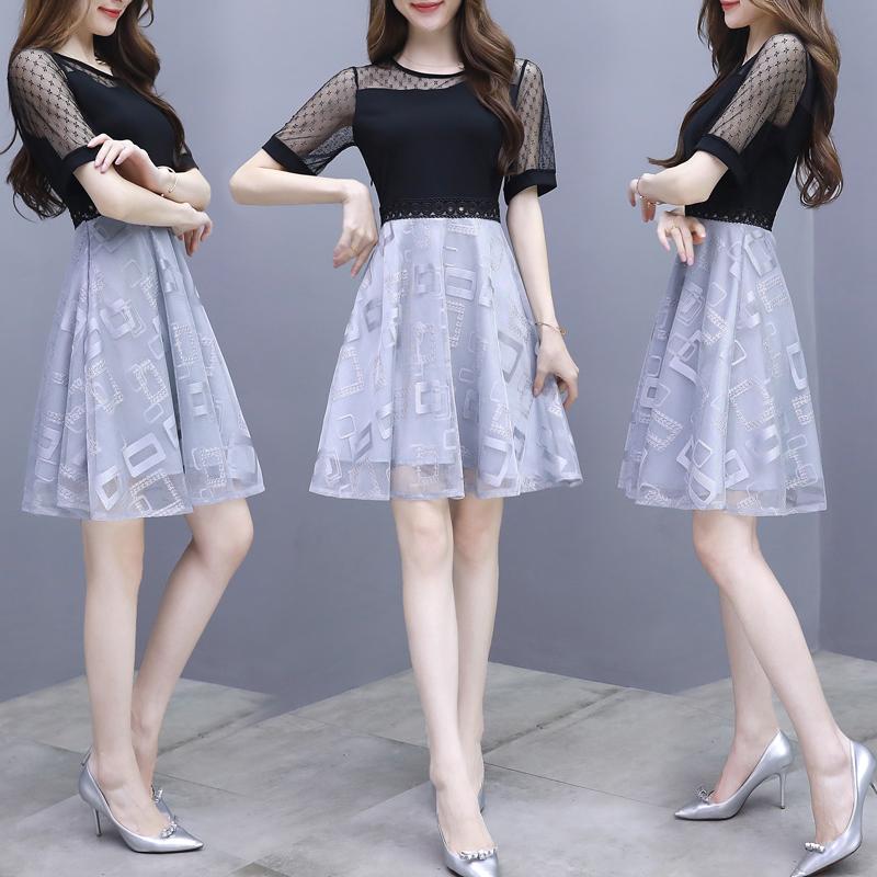 16新款夏季流行韩版小香风蕾丝拼接气质女神名媛洋气雪纺连衣裙子