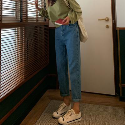 复古牛仔裤女网红同款老爹裤百搭宽松高腰显瘦小个子长裤直筒裤潮