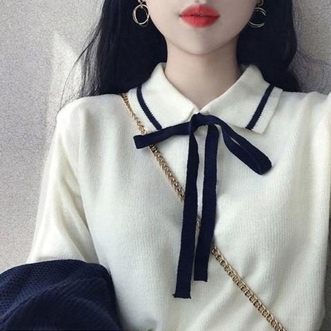 学院风毛衣女春秋冬季韩版宽松显瘦套头学生针织衫外套打底衫上衣