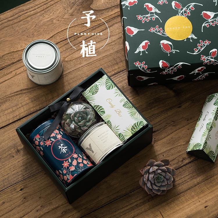百日宴森系中式多肉伴手礼婚礼糖盒回礼女友礼物生日品儿童节礼盒