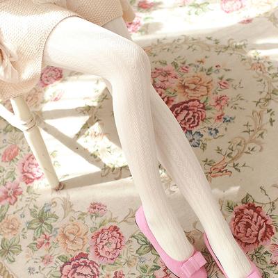 taobao agent Autumn velvet love jacquard pantyhose Japanese sweet beauty white stockings medium thick base socks with foot socks