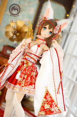 taobao agent 【Meow House】Fox Hunting Miko Cute Improved Miko Dress Nine Tails Kimono Costume Baby Clothes 3 Points BJD DD