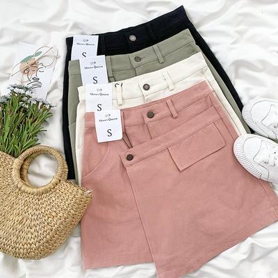 Quần váy, tôn dáng, thụng, cạp cao, dễ kết hợp, phù hợp cho mùa hè, một màu