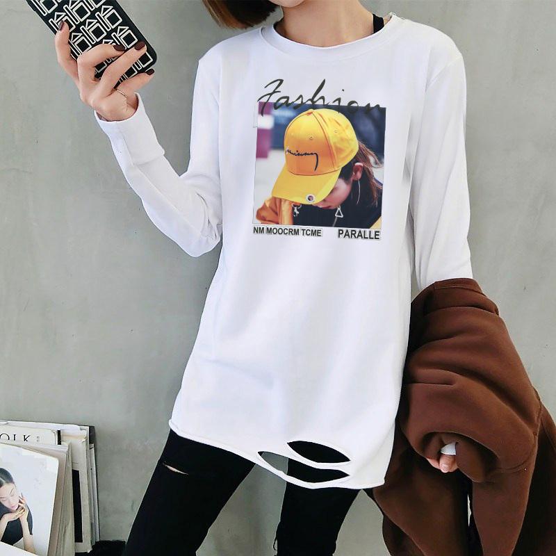 7263#春秋韩版宽松下摆破洞中长时尚白色T恤女印花长袖上衣