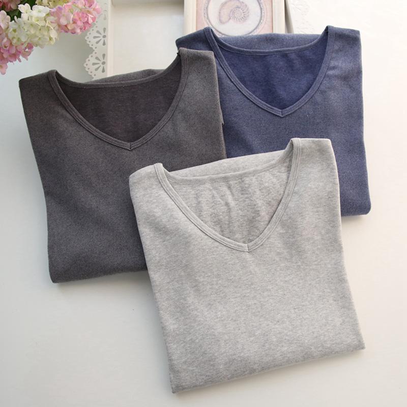 Mùa thu và mùa đông nam đồ lót nhiệt quần áo mùa thu đơn mảnh cộng với phân bón để tăng áo sơ mi dài tay cơ sở cotton áo len màu mỏng phần - Áo ấm