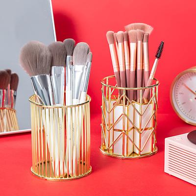 北欧INS化妆刷收纳桶铁艺玫瑰金桌面笔筒金色彩妆美妆工具收纳筒