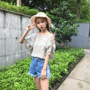 6617#实拍 韩版小清新碎花蝴蝶结系带层层蛋糕袖雪纺衫