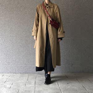 2882#韩国ins小众长款复古修身绑带宽松翻领风衣外套女