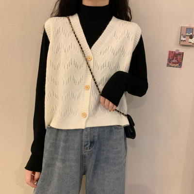 taobao agent Outer spring and autumn women's clothing 2021 new trendy waistcoat vest cardigan knitted bottoming shirt short thin upper clothes