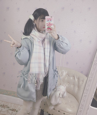 taobao agent Doujiang original national brand winter girl carpel powder gray blue soft girl Japanese college lamb wool hooded quilted jacket