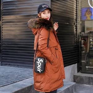 Bông 袄 nữ 2018 mới của Hàn Quốc phiên bản của phần dài trên đầu gối áo khoác sinh viên mùa đông kích thước lớn dày xuống áo bông