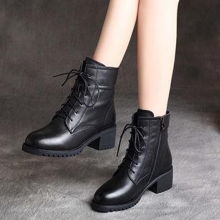 新款秋季中跟粗跟小短靴女靴子馬丁靴