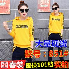 2017春季新款女士运动套装韩版休闲套头卫衣长裤字母连帽两件套潮