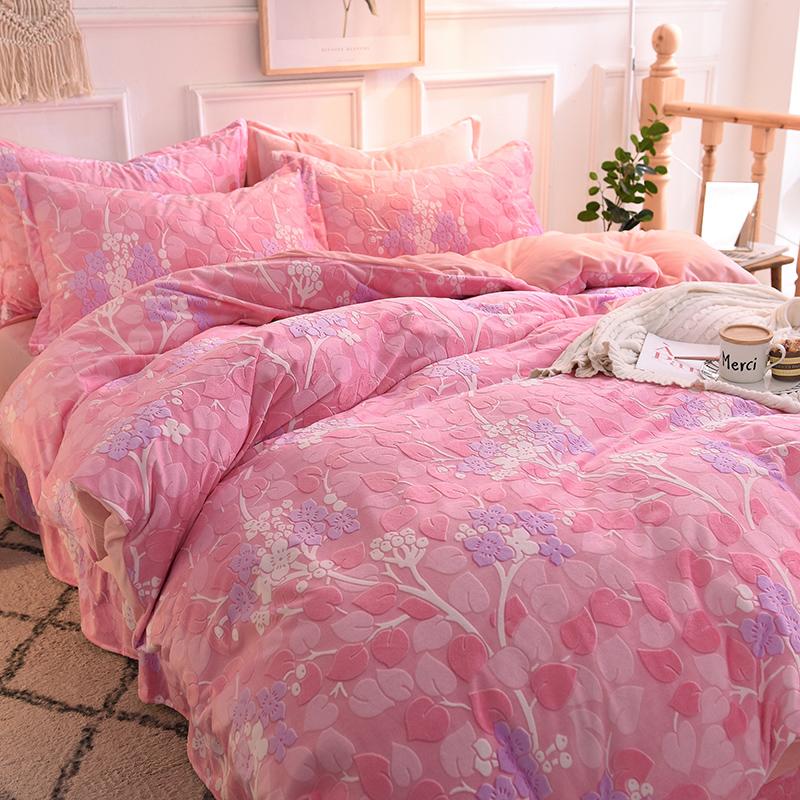 【已验货】6D雕花绒四件套保暖1.5m\\\/1.8米法兰绒床单荷叶边加厚床