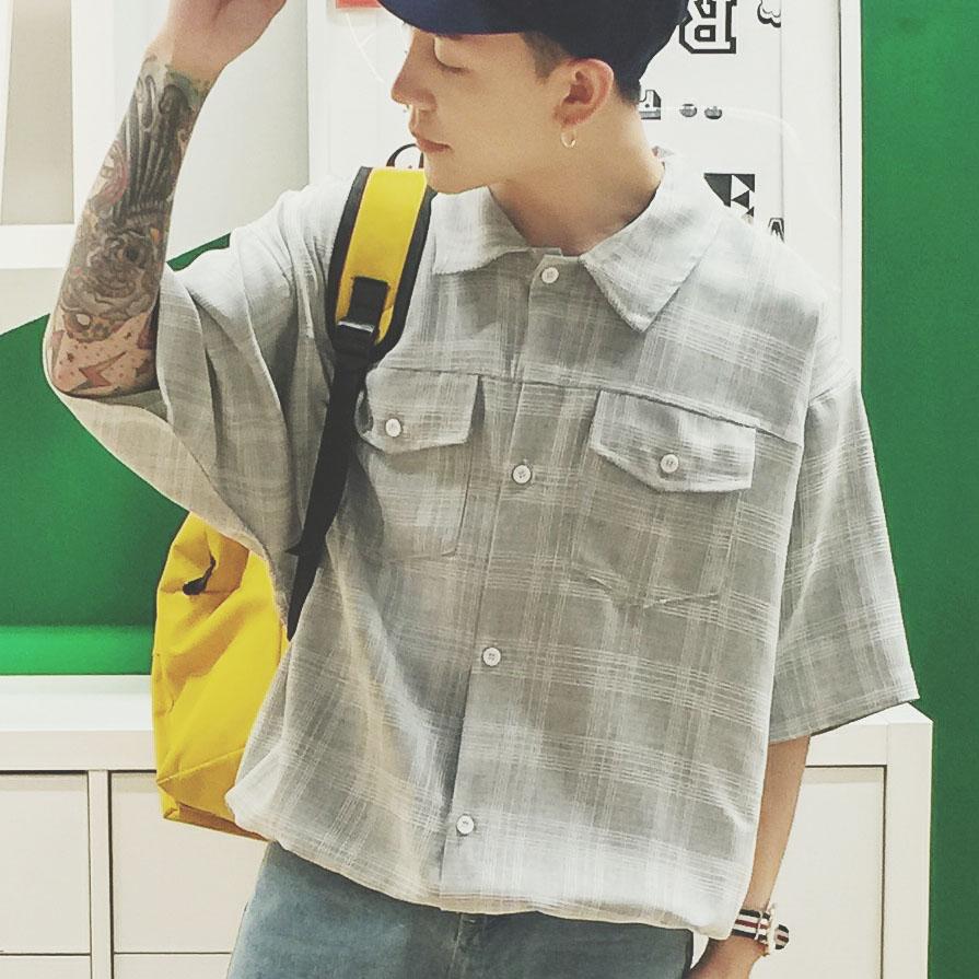 105C-HC13-P50 2019日系复古男士衬衫格子短袖衬衣 休闲蝙蝠衫