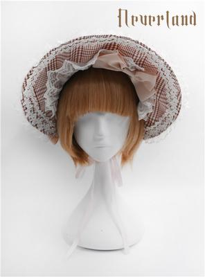 taobao agent Soufflesong exclusive design【Not stripes】OP Accessories Plaid Bonnet Bnt Bow A