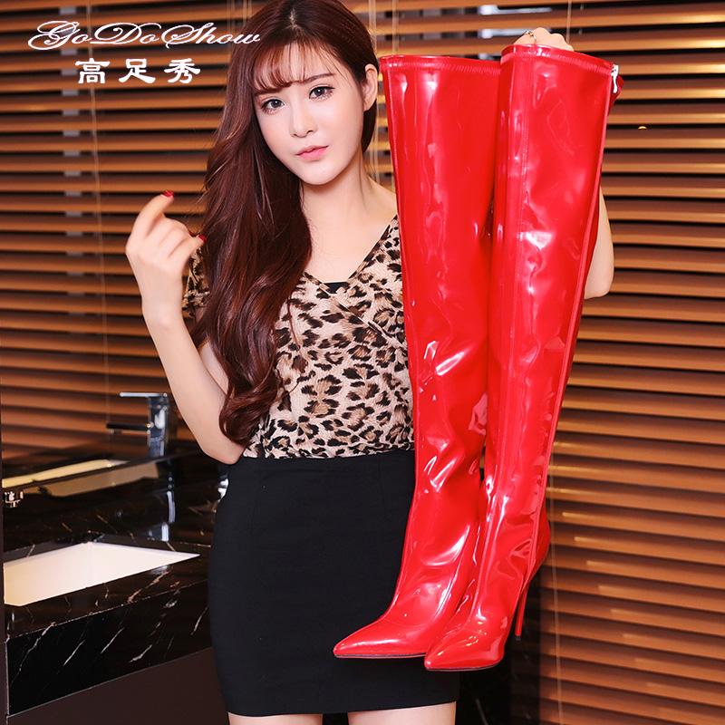 Trong khởi động đầu gối nữ stovepipe stretch sexy siêu cao gót giày 2018 mới cao khởi động stiletto Hàn Quốc phiên bản của khởi động